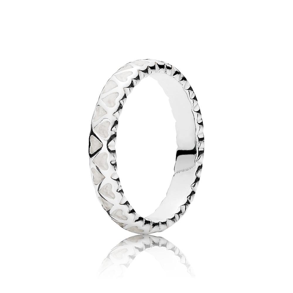 Abundance of Love Ring, Silver Enamel, Sterling silver, Enamel, White - PANDORA - #190975EN23