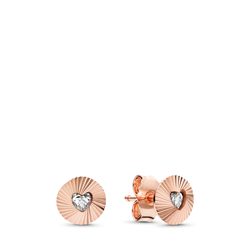 Vintage Fans Earrings, PANDORA Rose™ & Clear CZ, PANDORA Rose, Cubic Zirconia - PANDORA - #287297CZ