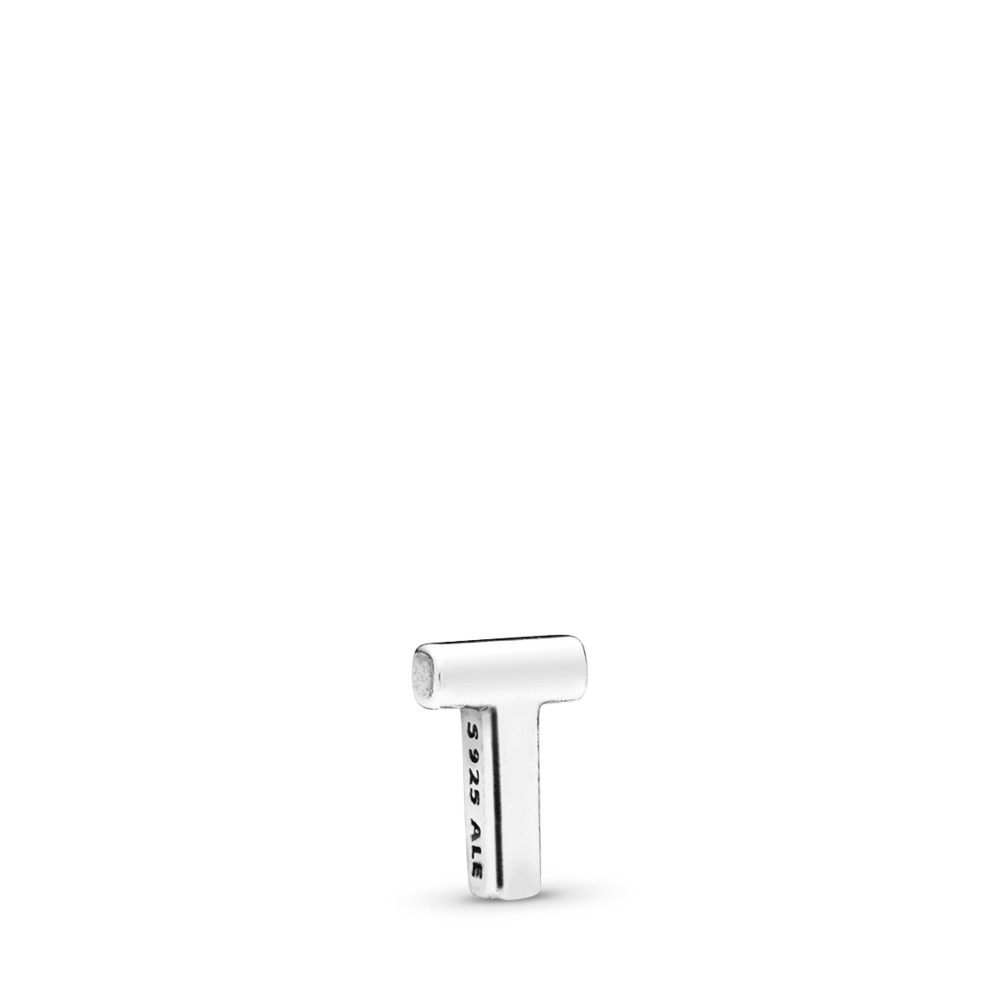 Letter T Petite Locket Charm, Sterling silver - PANDORA - #797338