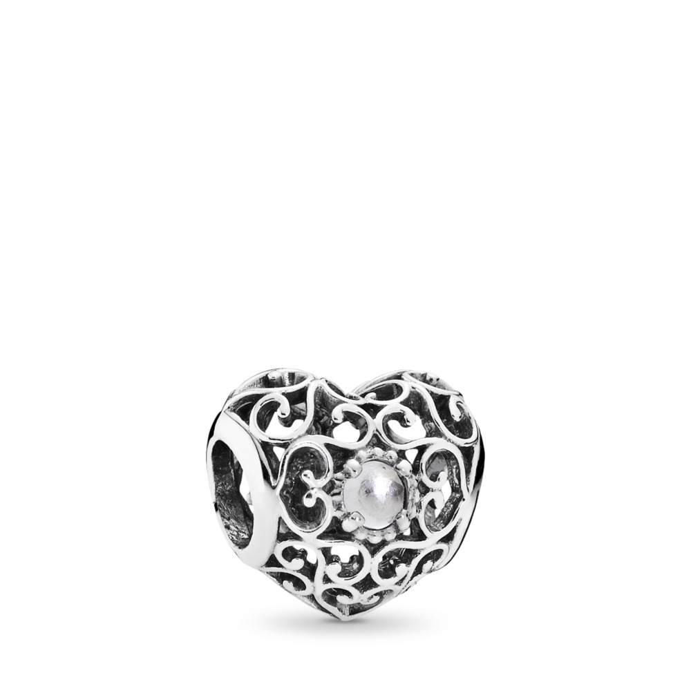 April Signature Heart Charm, Rock Crystal, Sterling silver, Grey, Rock crystal - PANDORA - #791784RC