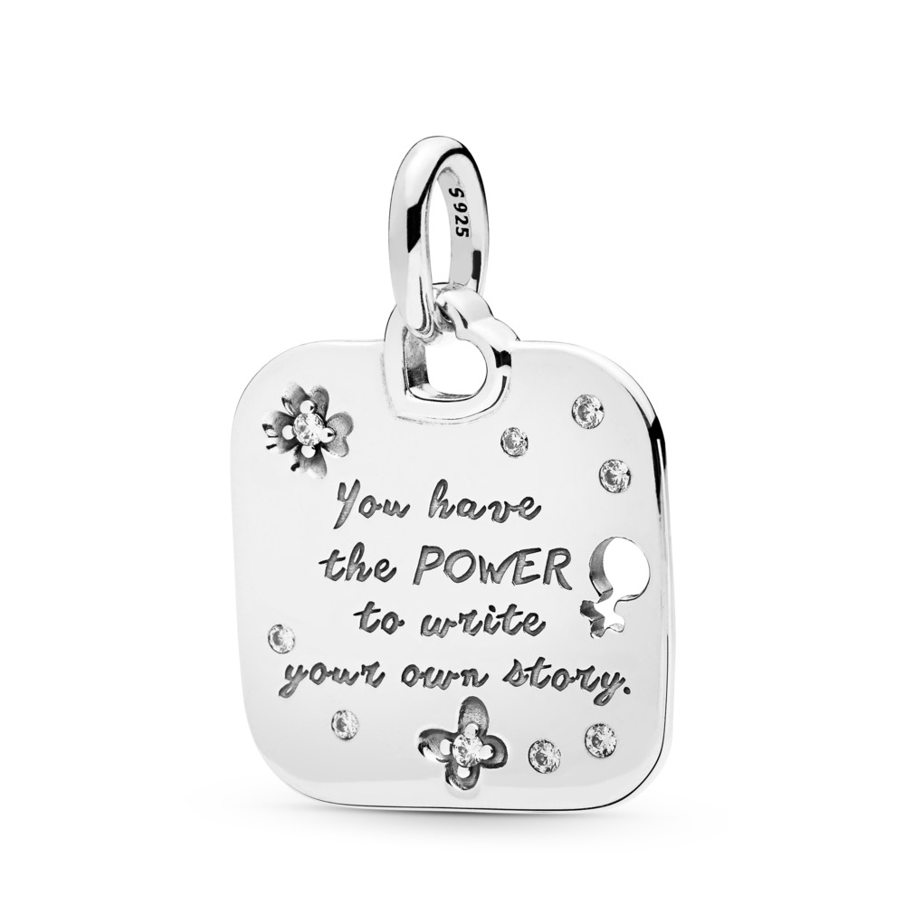 Female Empowerment Motto Pendant, Sterling silver, Cubic Zirconia - PANDORA - #397916CZ