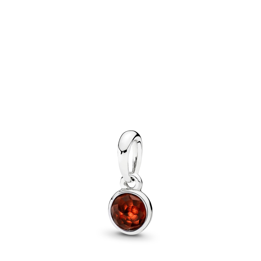 January Droplet Pendant, Garnet, Sterling silver, Red, Garnet - PANDORA - #390396GR