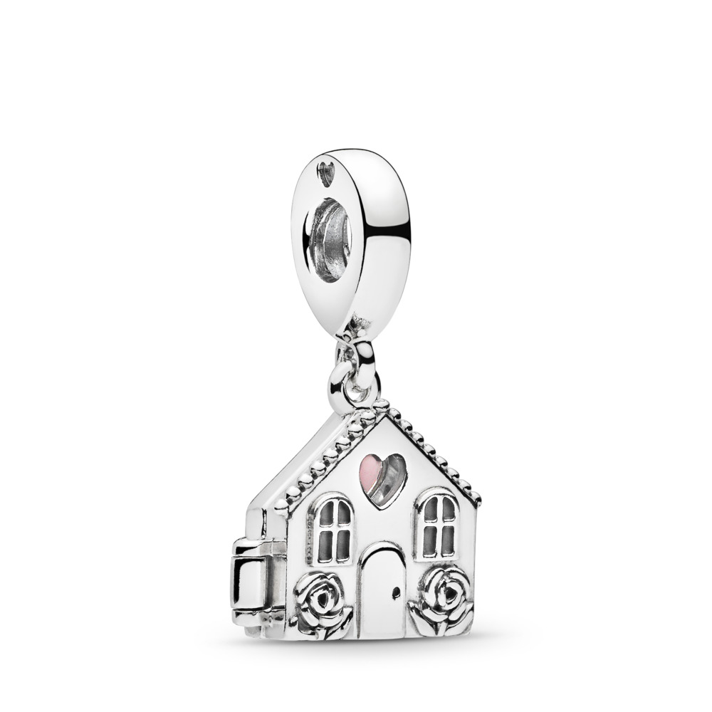 Perfect Home Dangle Charm, Pale Pink Enamel, Sterling silver, Enamel, Pink - PANDORA - #797056EN160
