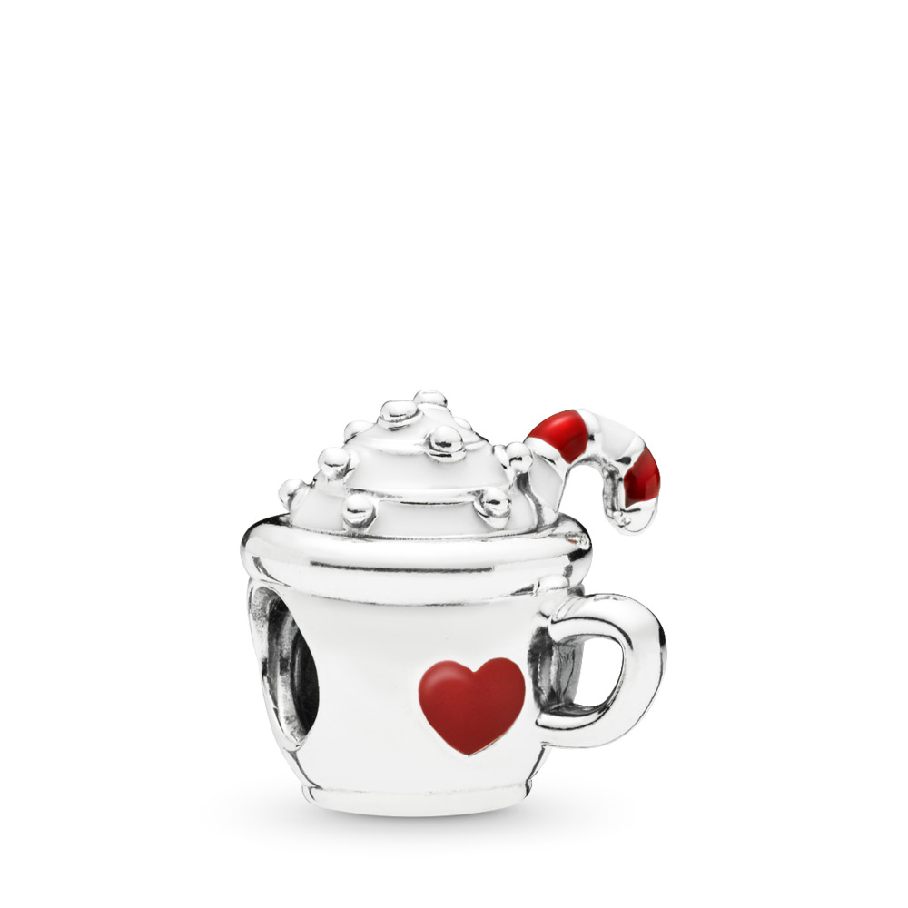 Warm Cocoa Charm, White & Red Enamel, Sterling silver, Enamel, Red - PANDORA - #797523ENMX