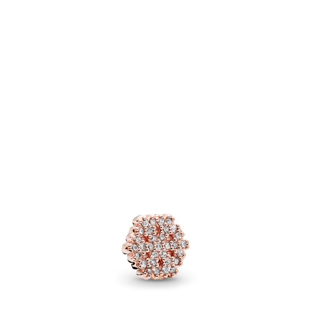 Shimmering Snowflake Petite Locket Charm, PANDORA Rose™ & Clear CZ, PANDORA Rose, Cubic Zirconia - PANDORA - #782166CZ