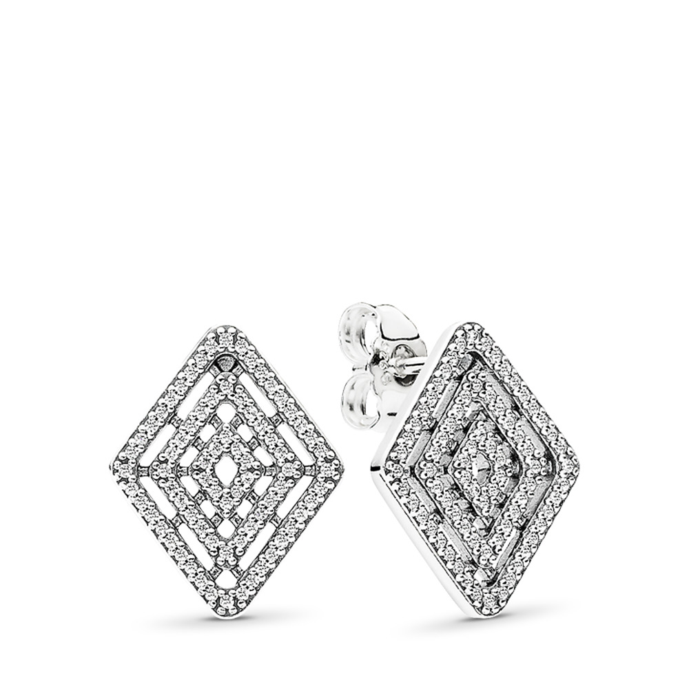 Geometric Lines Stud Earrings, Clear CZ, Sterling silver, Cubic Zirconia - PANDORA - #296208CZ