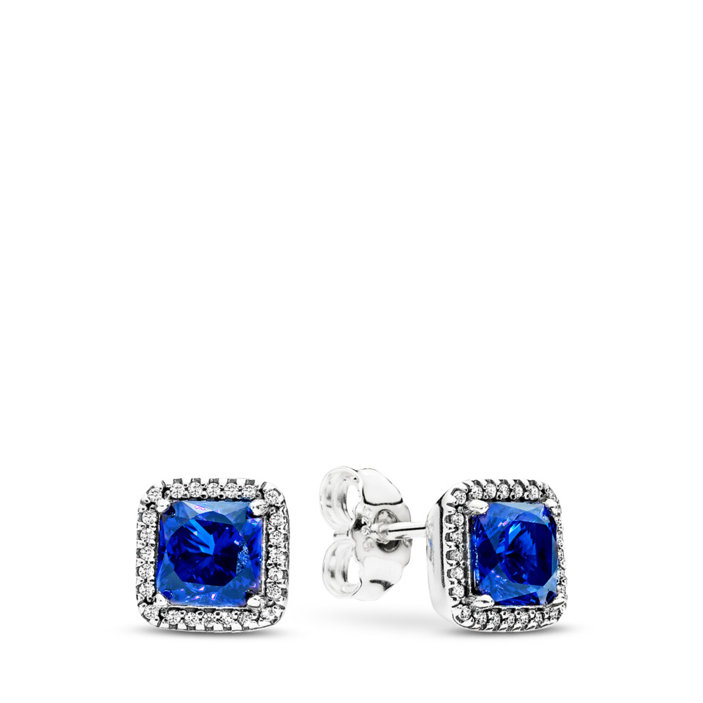 Timeless Elegance Stud Earrings, True Blue Crystals & Clear CZ, Sterling silver, Blue, Mixed stones - PANDORA - #290591NBT