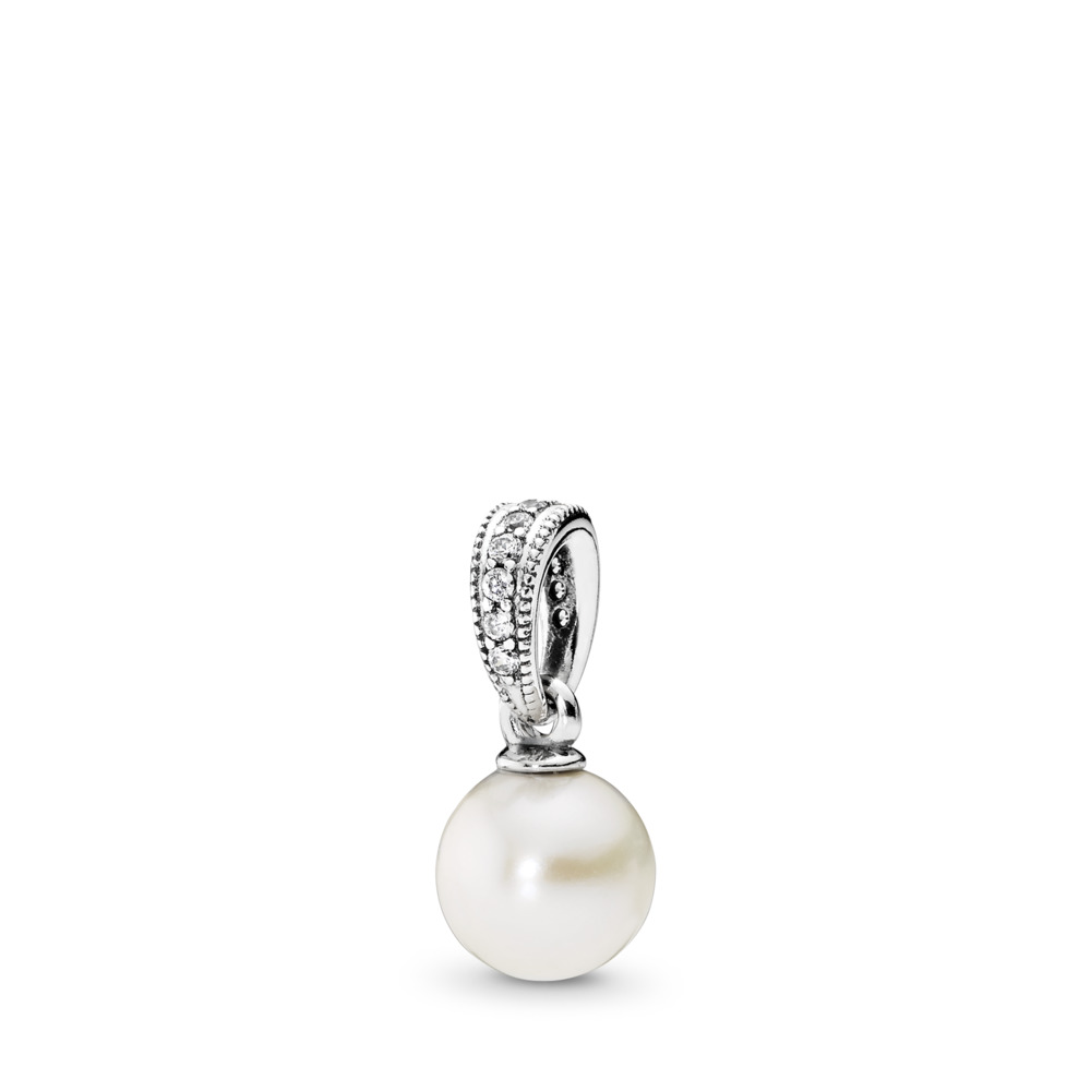 Elegant Beauty Pendant, White Pearl & Clear CZ, Sterling silver, White, Mixed stones - PANDORA - #390393P