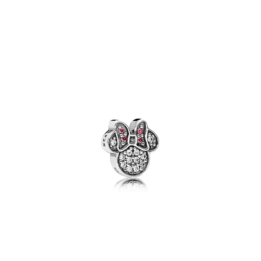 Disney, Sparkling Minnie Icon Petite Locket Charm, Red & Clear CZ