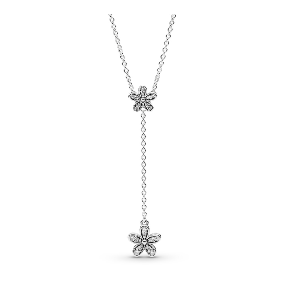 Dazzling Daisies Necklace, Clear CZ, Sterling silver, Cubic Zirconia - PANDORA - #590540CZ