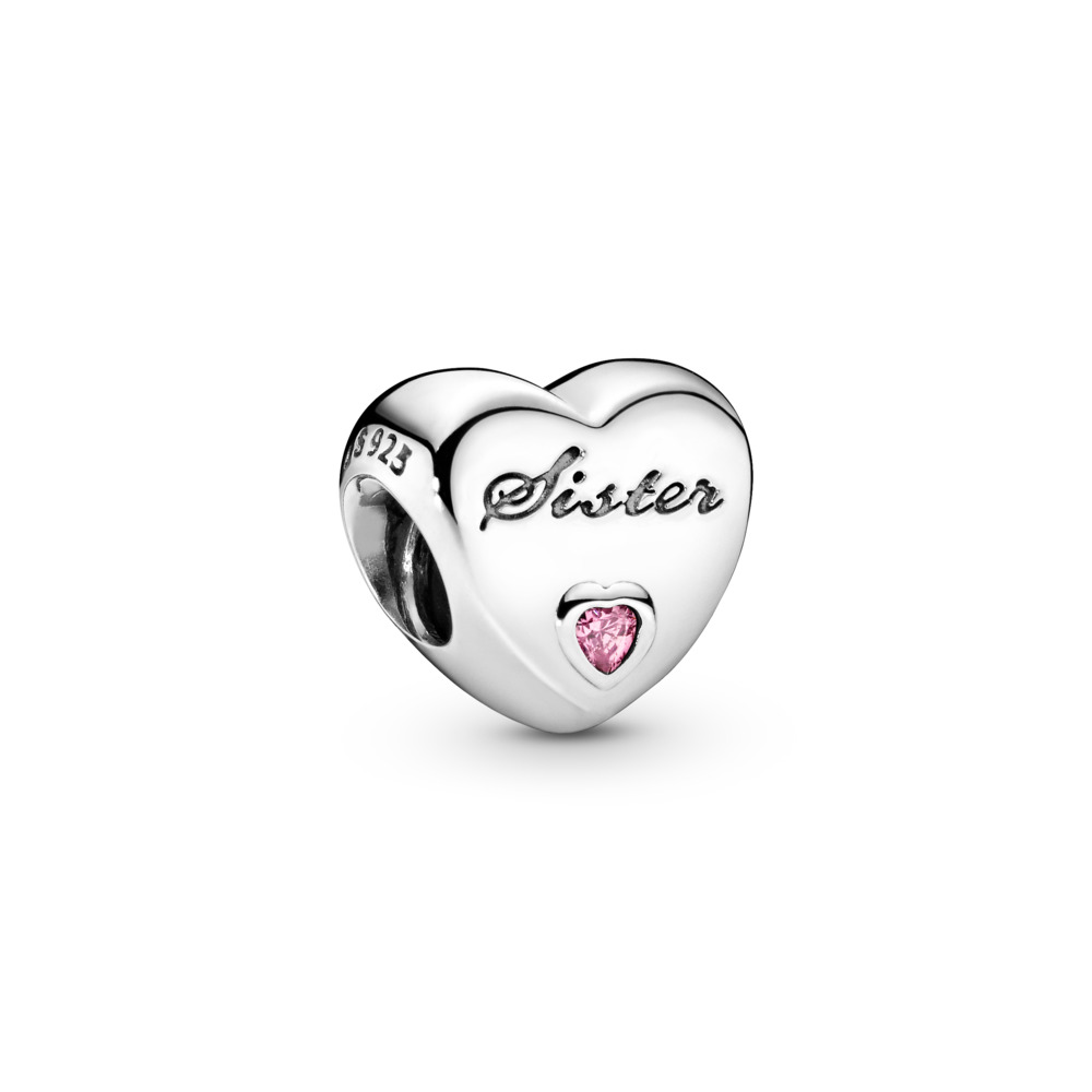 Sister's Love Charm, Pink CZ, Sterling silver, Cubic Zirconia - PANDORA - #791946PCZ