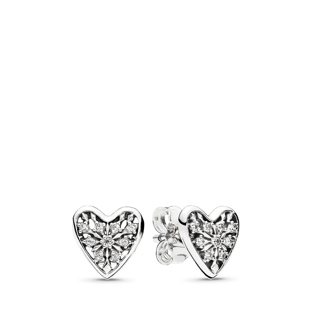 Hearts of Winter Stud Earrings, Clear CZ, Sterling silver, Cubic Zirconia - PANDORA - #296368CZ