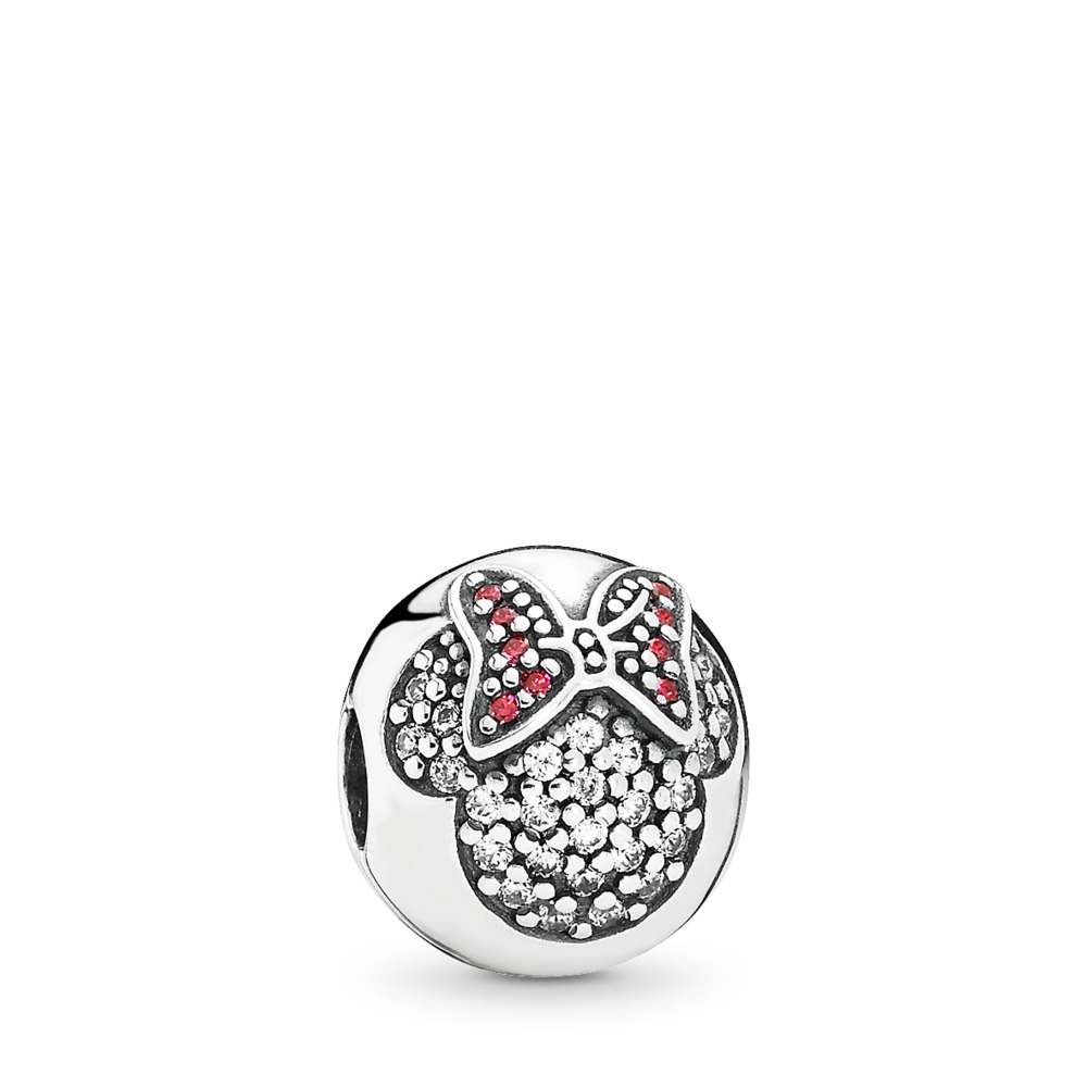 a5af54291 Disney, Minnie Pavé Clip, Sterling silver, Red, Cubic Zirconia - PANDORA -