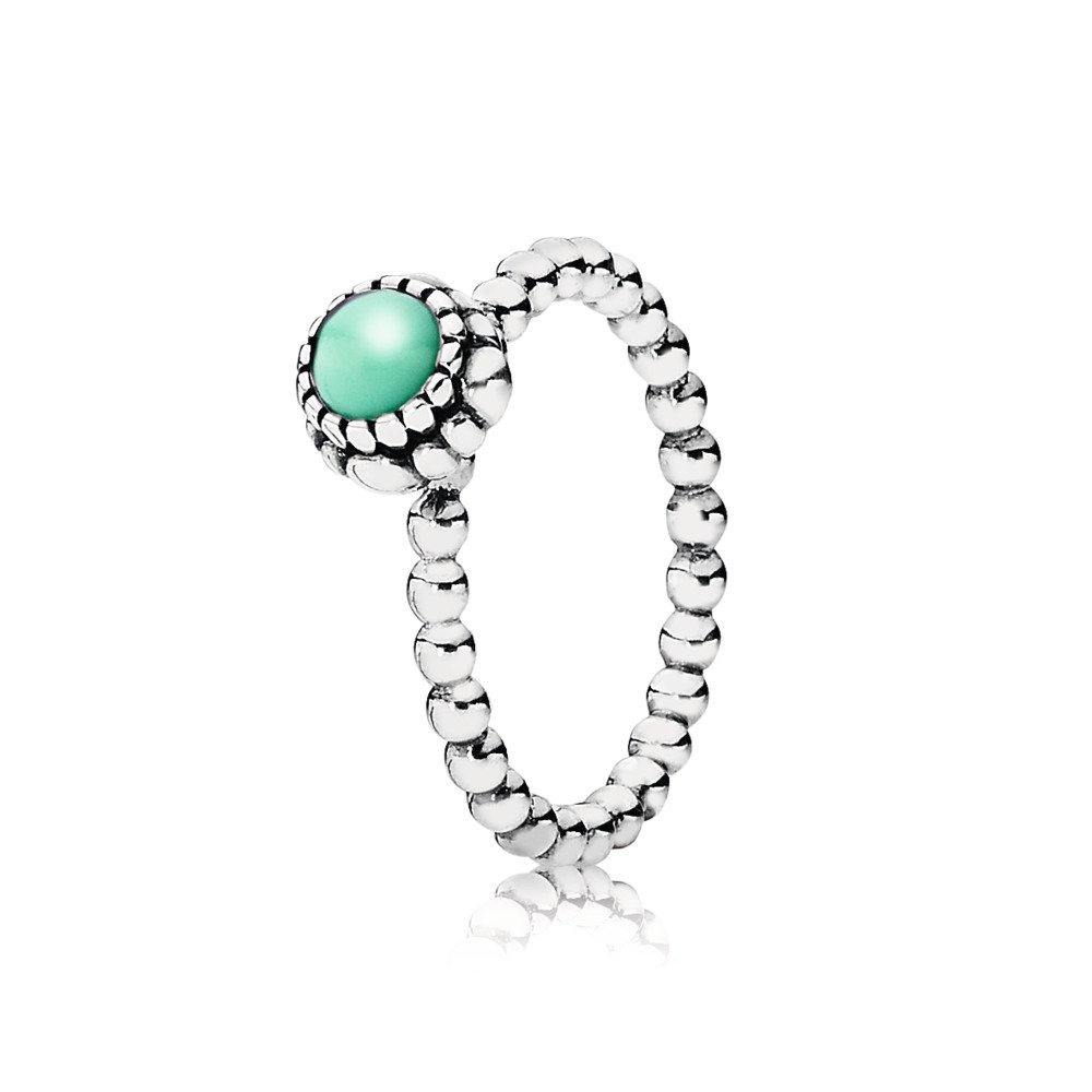 Birthday Blooms Ring, May, Chrysoprase, Sterling silver, Turquoise, Chrysoprase - PANDORA - #190854CH