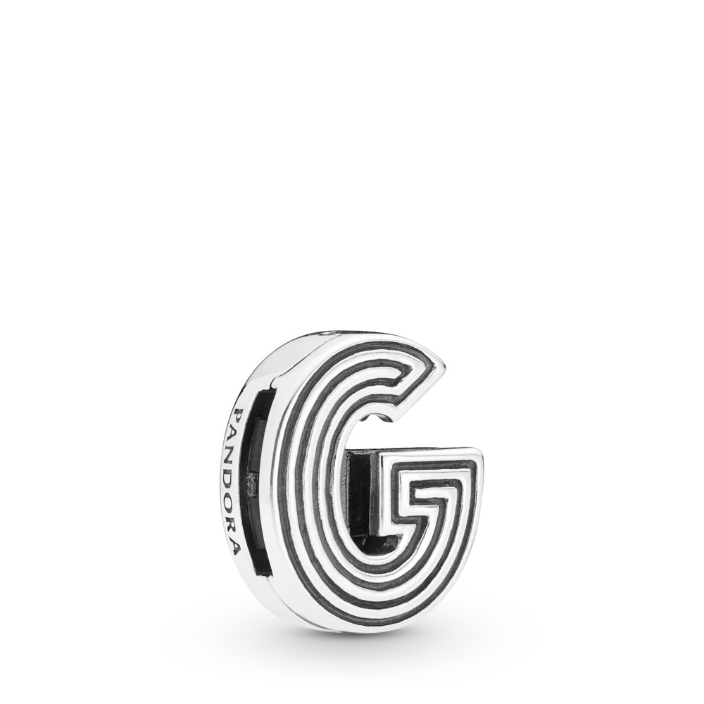 Pandora Reflexions™ Letter G Clip Charm, Sterling silver, Silicone - PANDORA - #798203