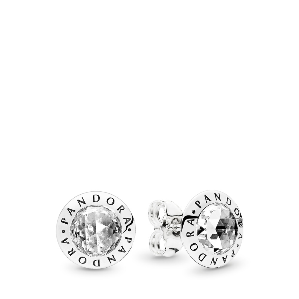 Radiant PANDORA Logo Stud Earrings, Clear CZ, Sterling silver, Cubic Zirconia - PANDORA - #296216CZ