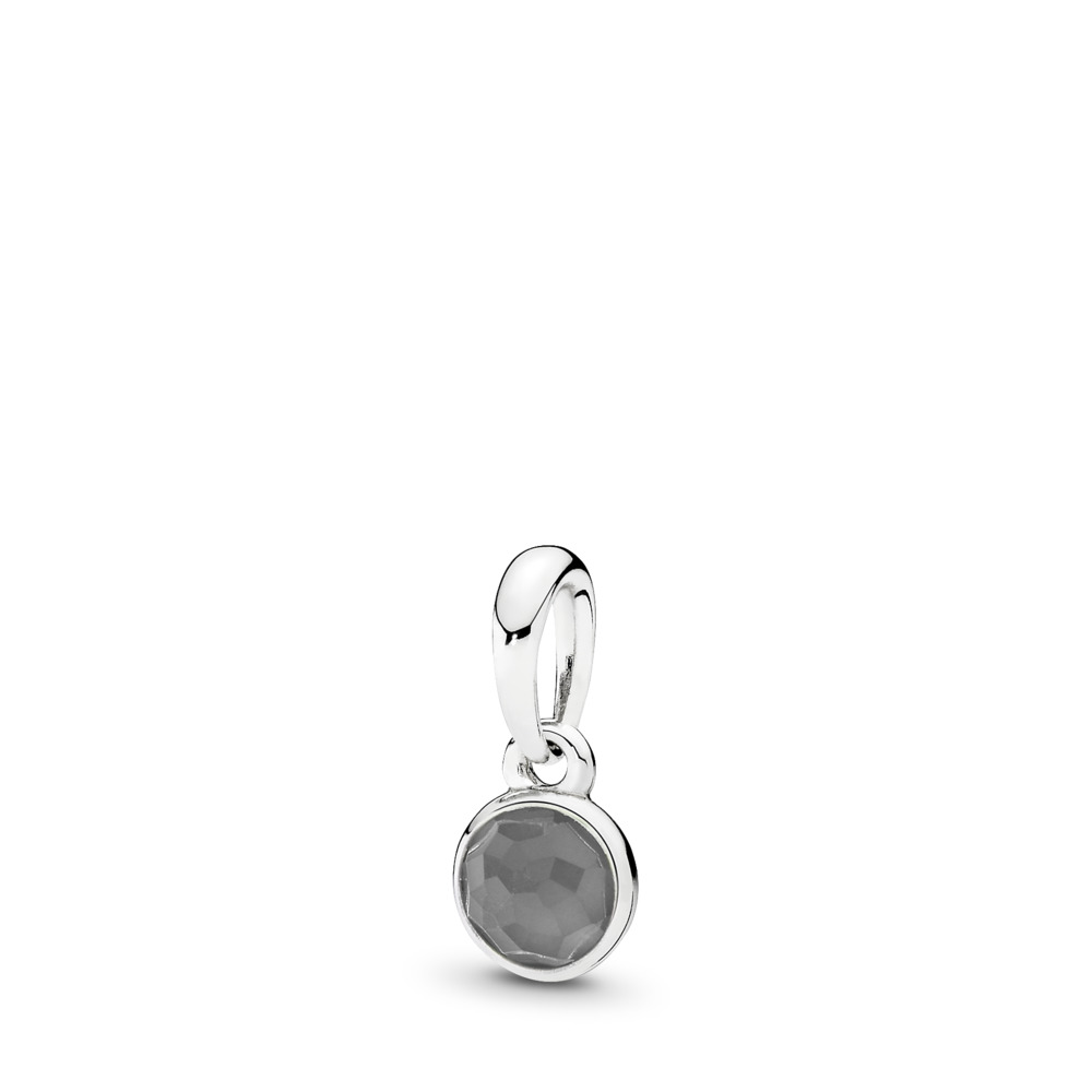 June Droplet Pendant, Grey Moonstone, Sterling silver, Grey, Moonstone - PANDORA - #390396MSG