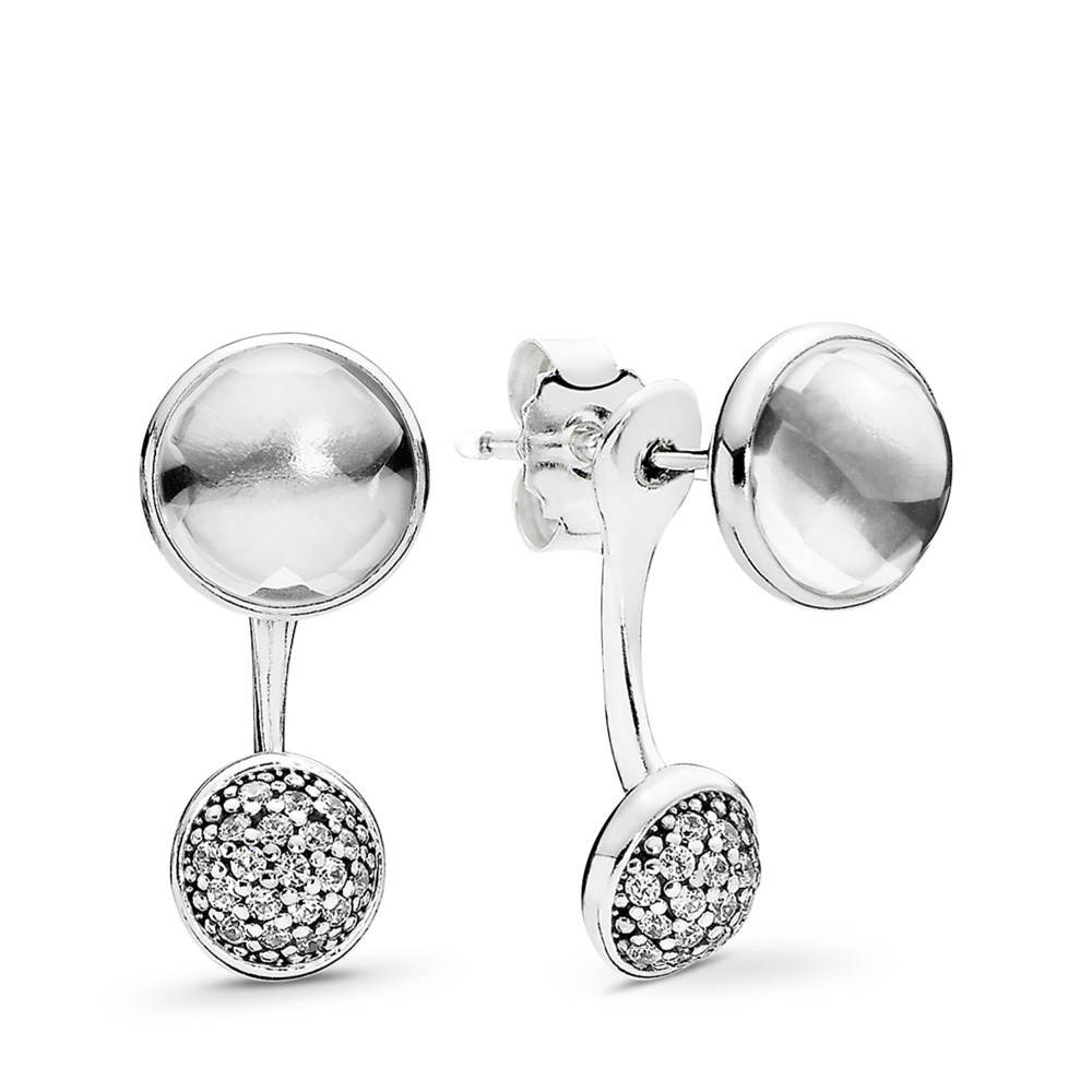 Dazzling Poetic Droplets Drop Earrings, Clear CZ, Sterling silver, Cubic Zirconia - PANDORA - #290728CZ