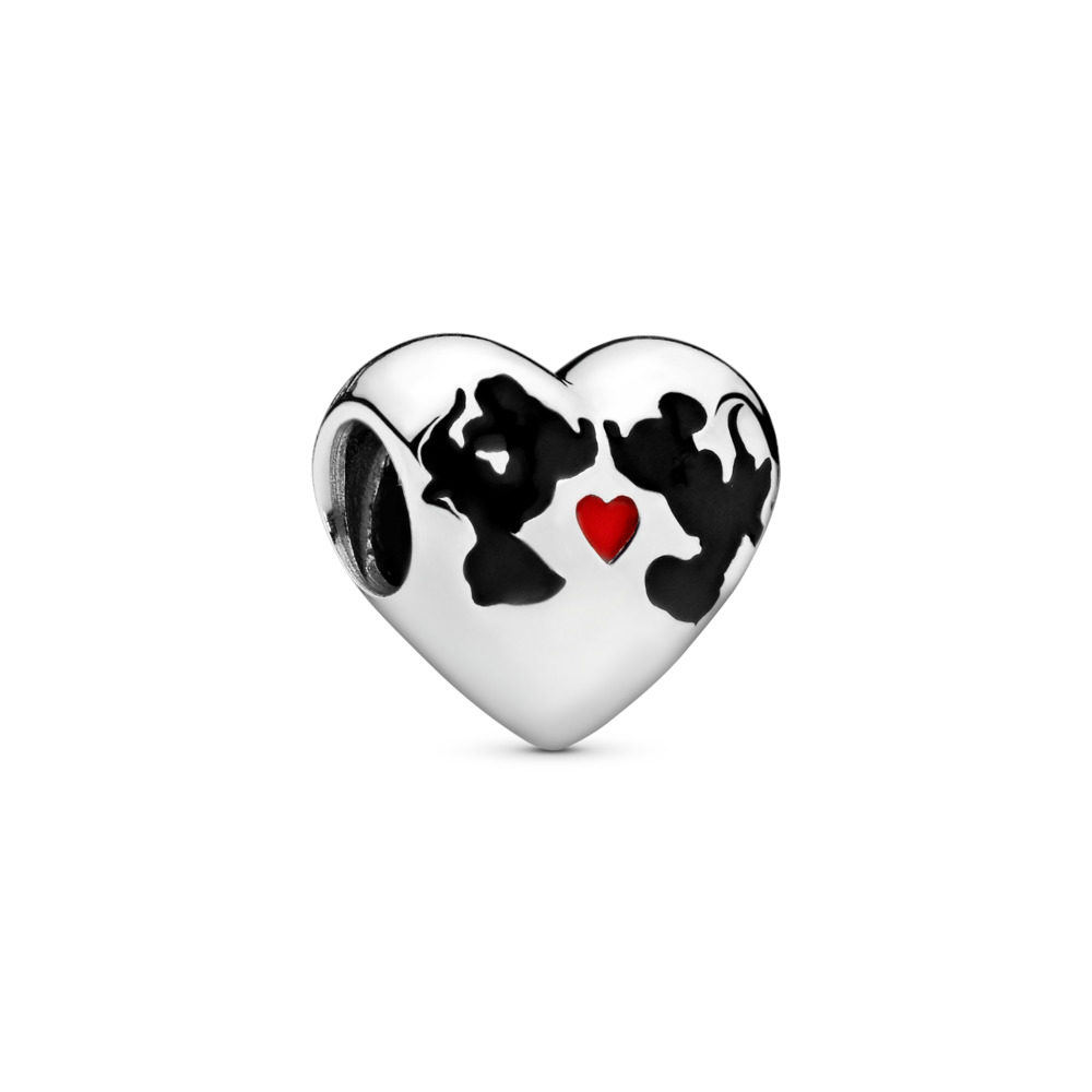 Disney Minnie Mouse & Mickey Mouse Kiss Charm, Sterling silver, Enamel, Black - PANDORA - #791443ENMX