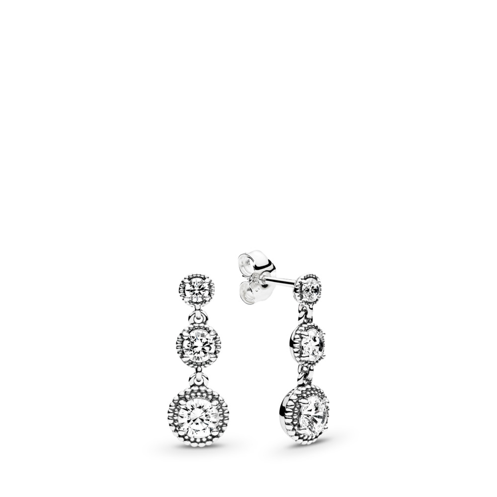 Eternal Elegance Drop Earrings, Clear CZ, Sterling silver, Clear, Cubic Zirconia - PANDORA - #290742CZ