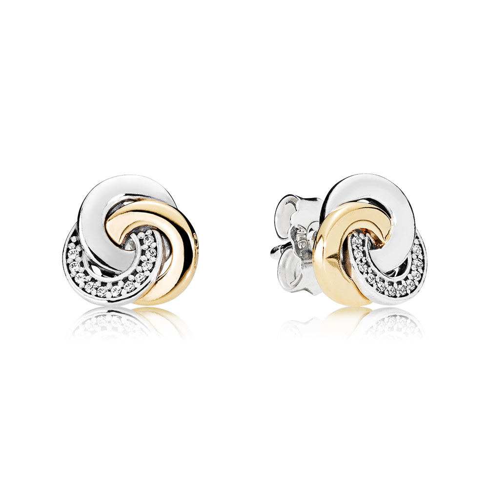 Interlinked Circles Stud Earrings Clear Cz