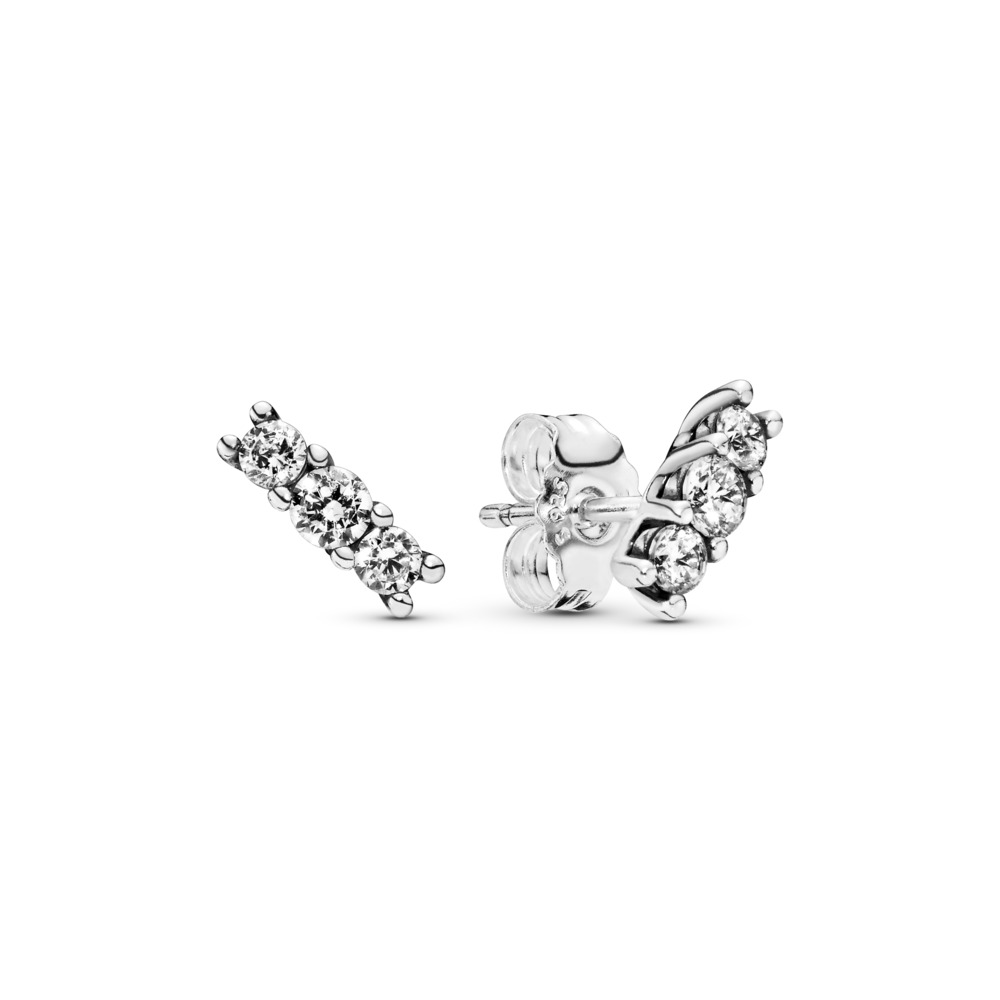 Sparkling Elegance Stud Earrings, Clear CZ, Sterling silver, Cubic Zirconia - PANDORA - #290725CZ