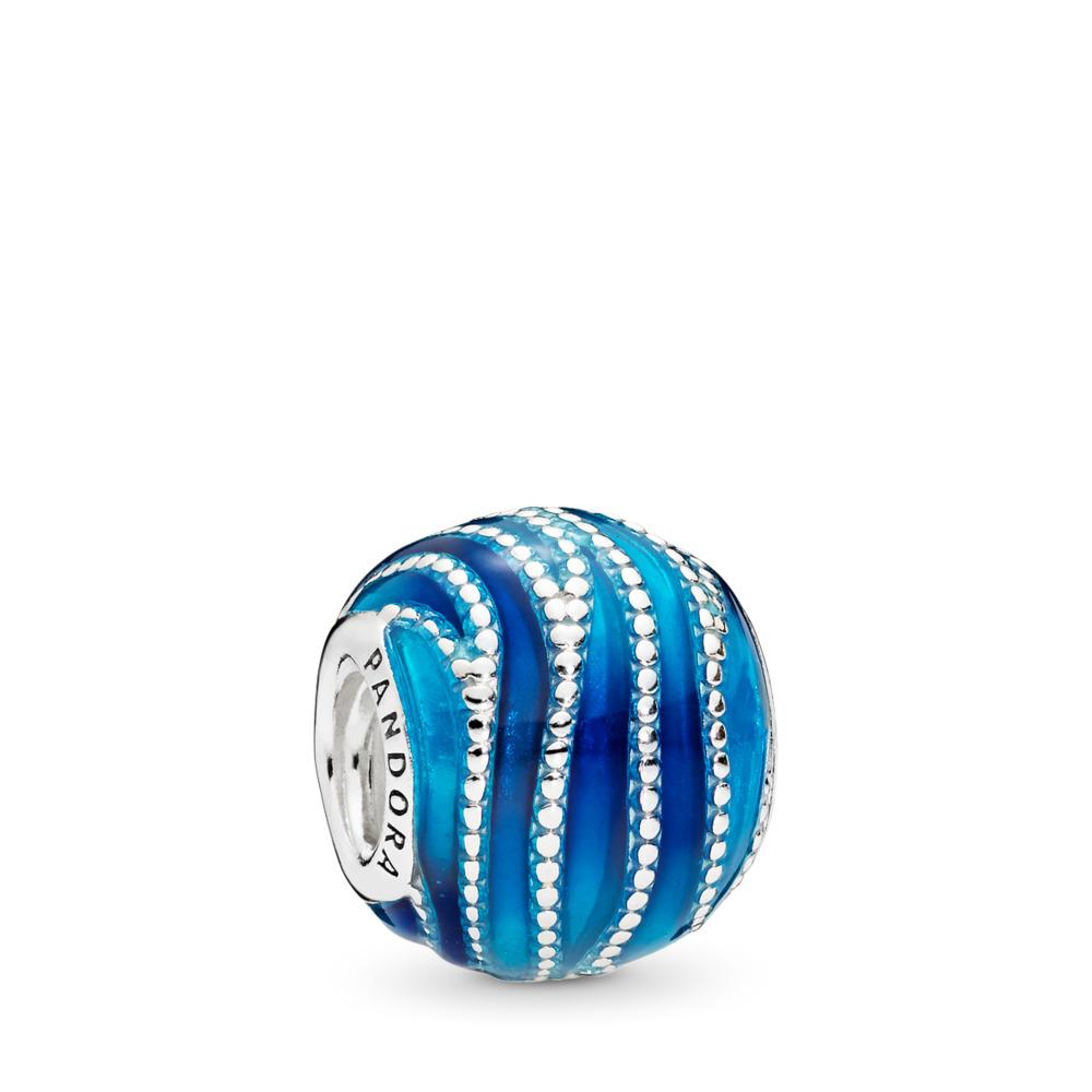 Blue Swirls Charm, Mixed Enamel, Sterling silver, Enamel, Blue - PANDORA - #797012ENMX