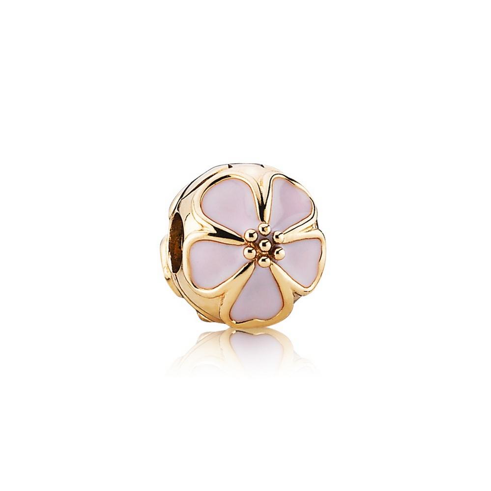 Cherry Blossom Clip Charm, Pink Enamel & 14K Gold