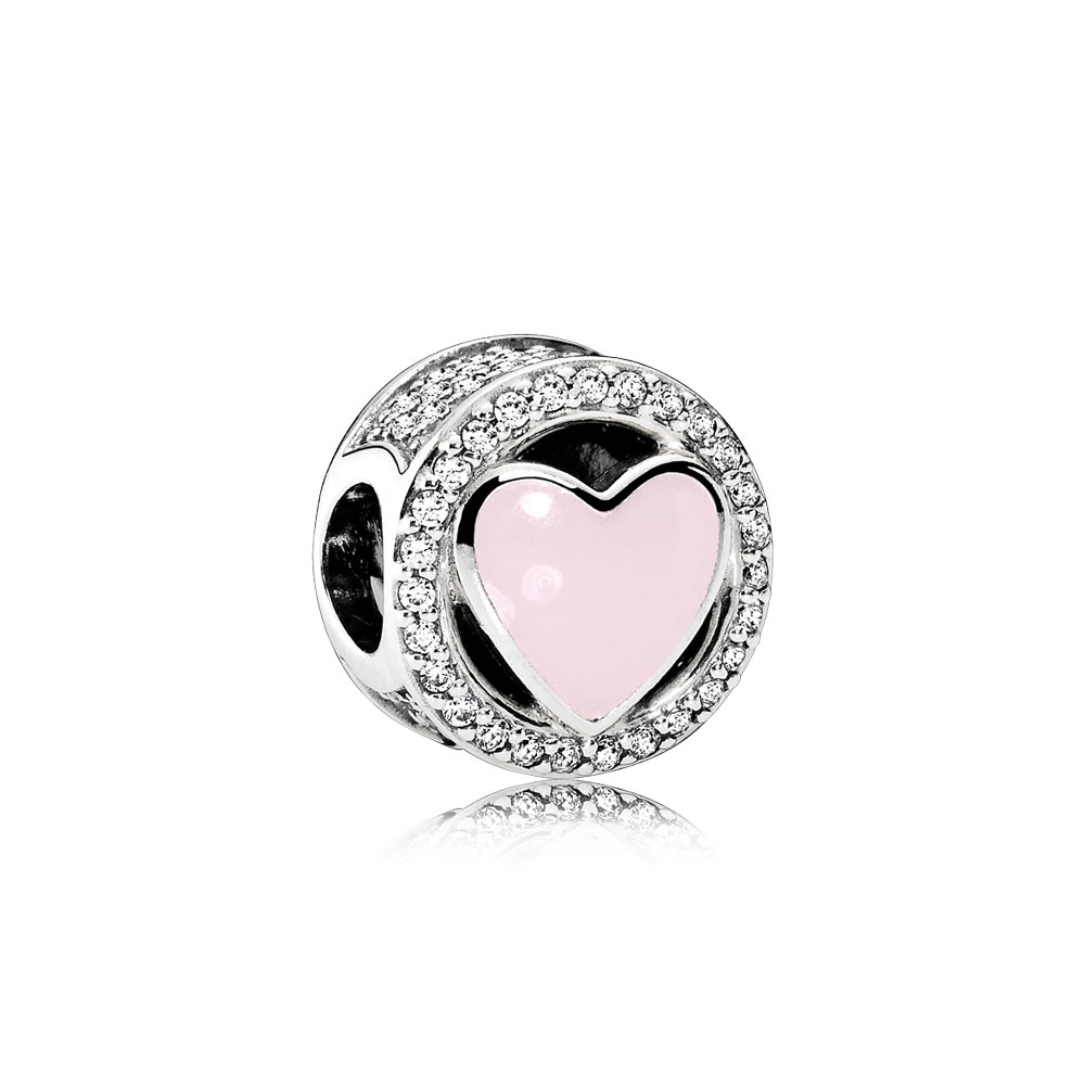 Wonderful Love, Soft Pink Enamel & Clear CZ