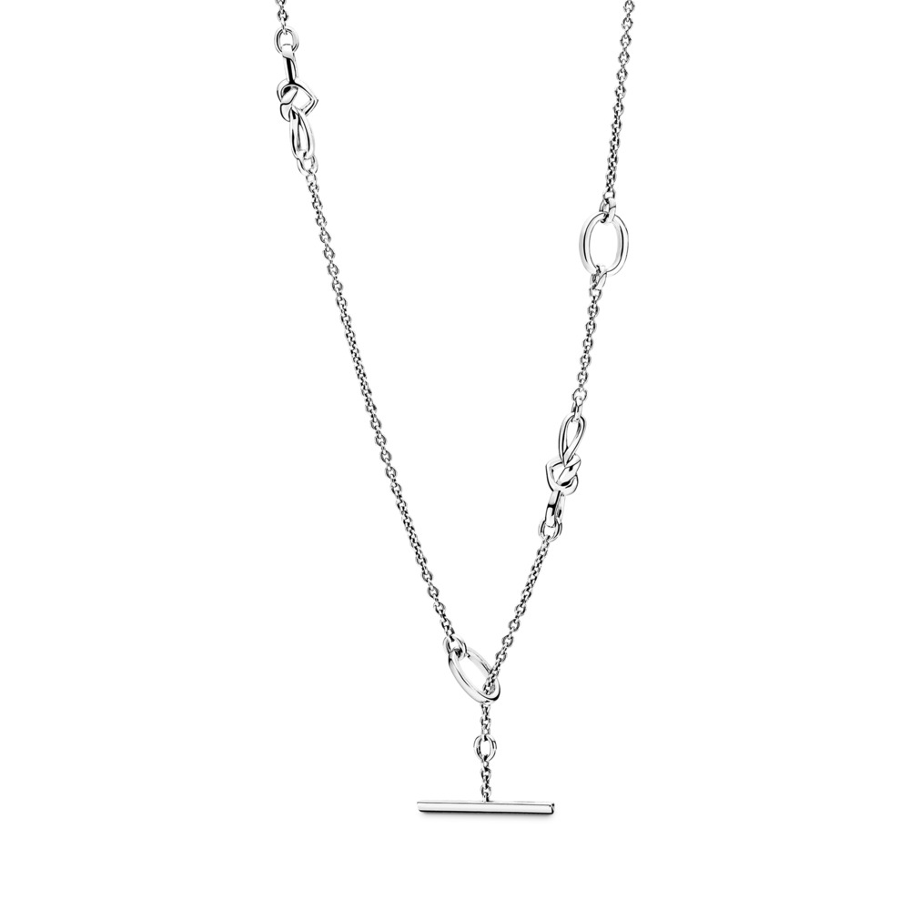 Knotted Heart T-Bar Necklace, Sterling silver - PANDORA - #398080