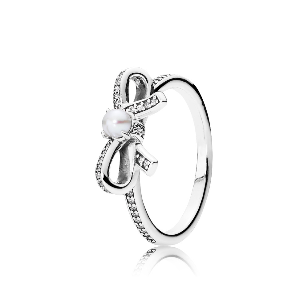 Delicate Sentiments Ring, White Pearl & Clear CZ, Sterling silver, Mixed stones - PANDORA - #190971P