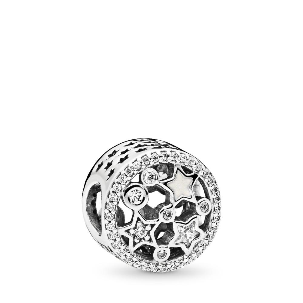 Illuminating Stars Charm, Silver Enamel & Clear CZ, Sterling silver, Enamel, White, Cubic Zirconia - PANDORA - #796373CZ