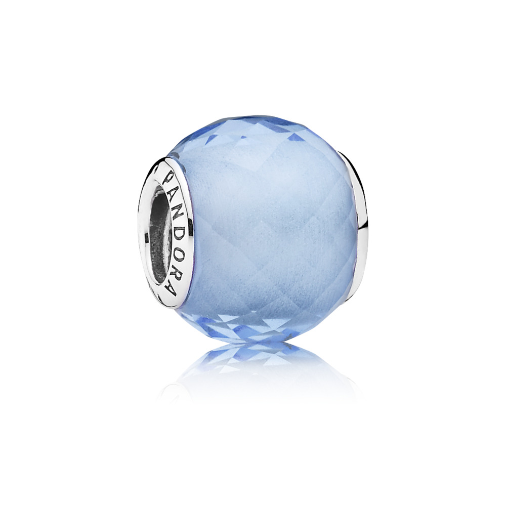 Petite Facets Charm, Synthetic Blue Quartz, Sterling silver, Blue, Synthetic Quartz - PANDORA - #791499SBQ