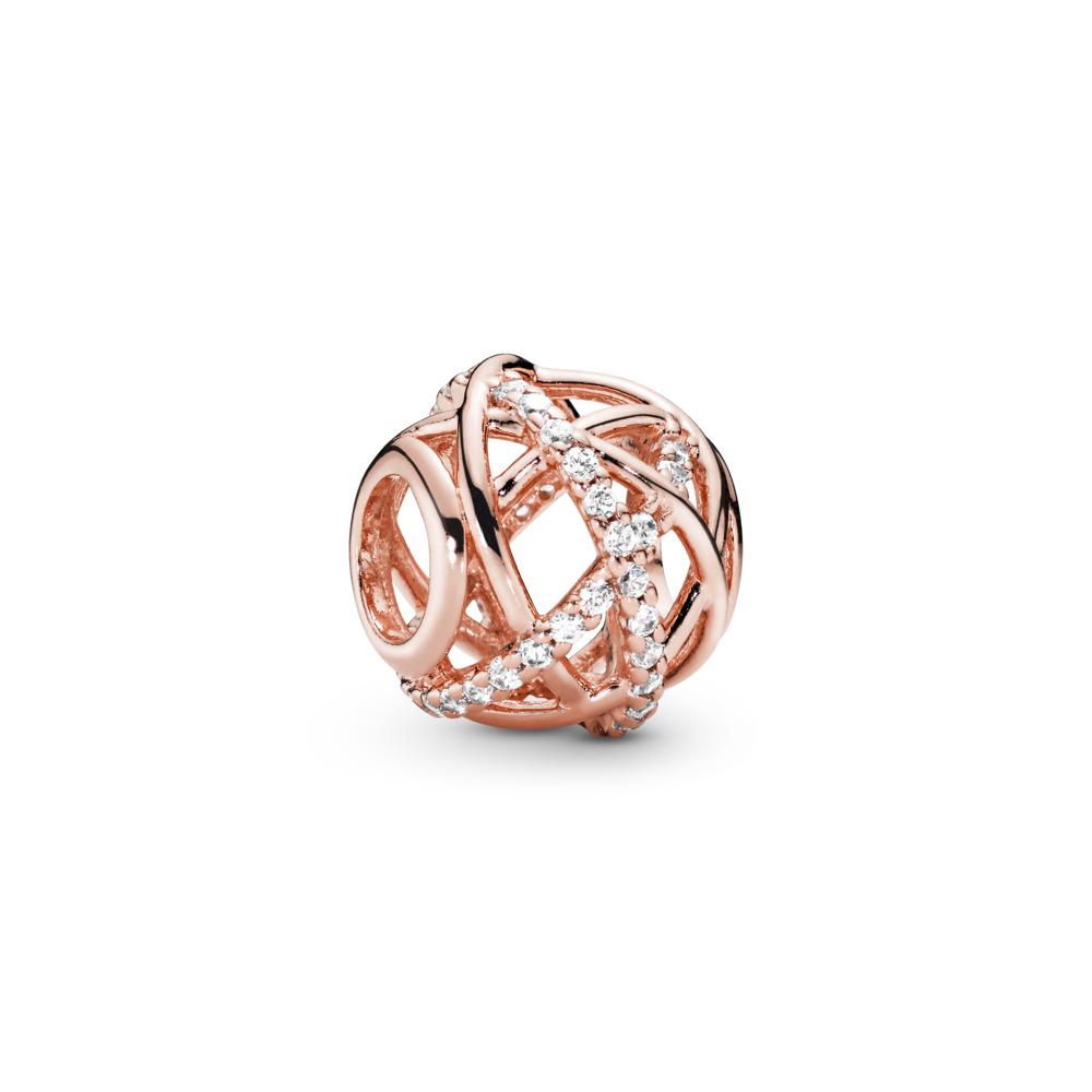Sparkling & Polished Lines Charm, PANDORA Rose, Cubic Zirconia - PANDORA - #781388CZ
