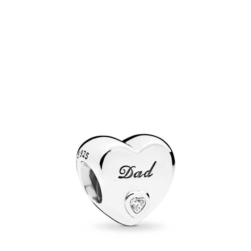 Dad's Love Charm, Clear CZ, Sterling silver, Cubic Zirconia - PANDORA - #796458CZ