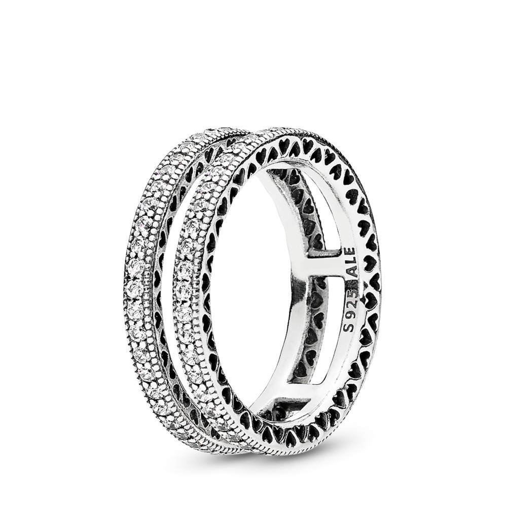 Double Hearts of PANDORA Ring, Clear CZ, Sterling silver, Cubic Zirconia - PANDORA - #196236CZ