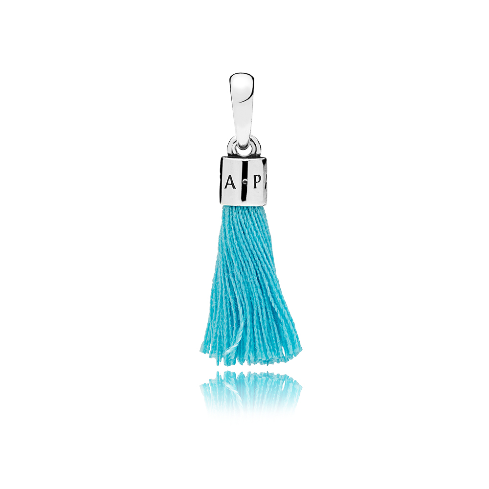 Turquoise Fabric Tassel Dangle Charm