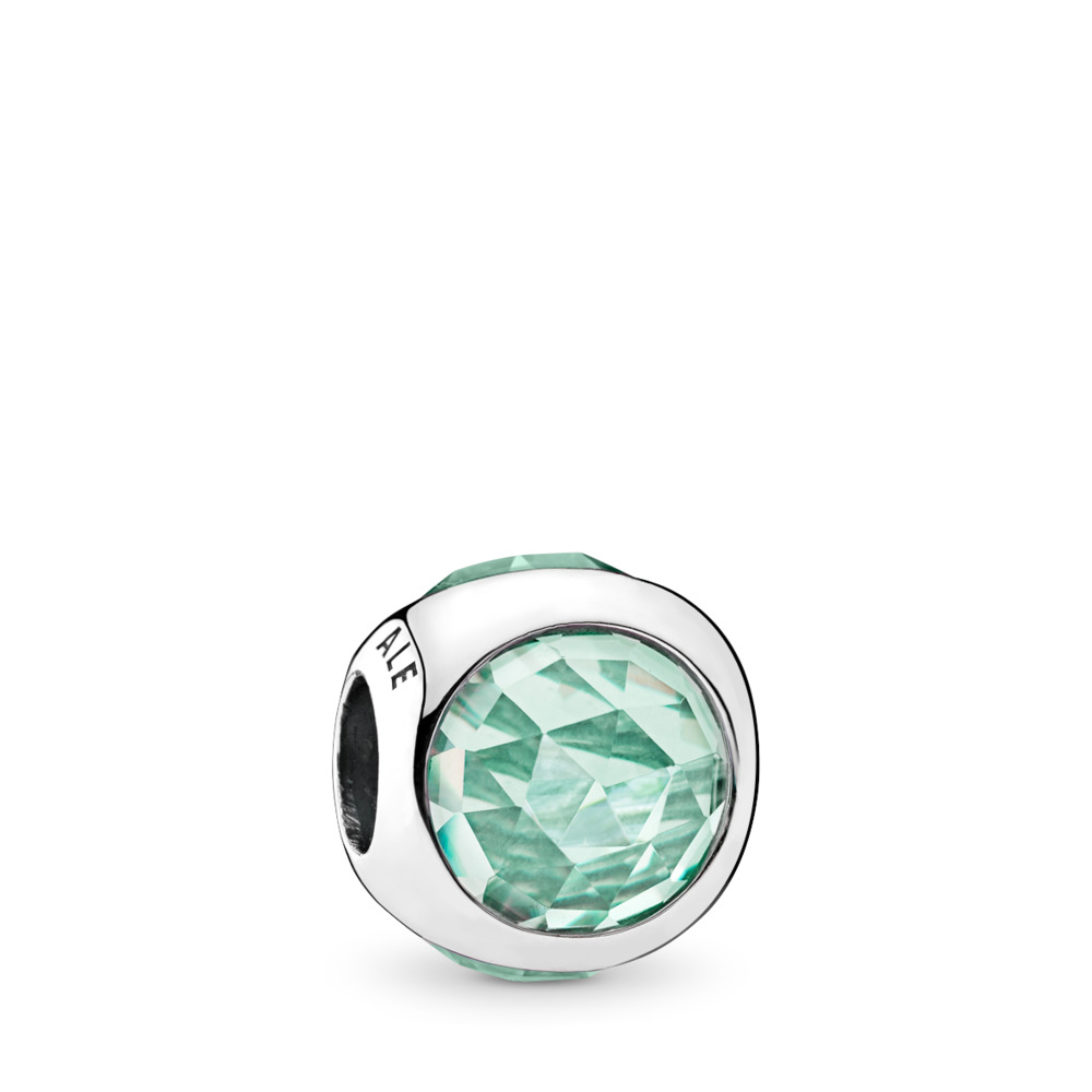 Radiant Droplet Charm, Icy Green Crystals, Sterling silver, Green, Crystal - PANDORA - #792095NIC