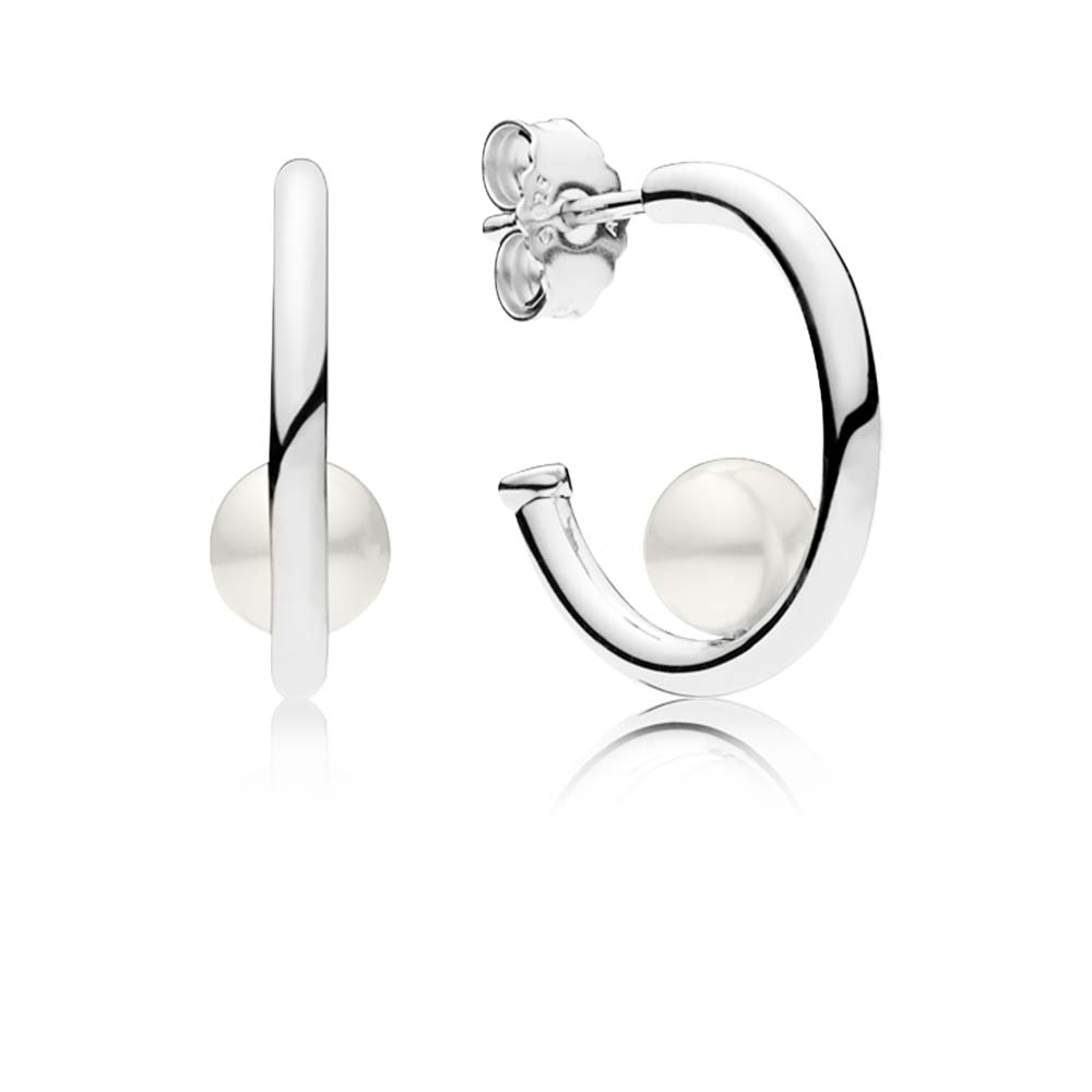 Contemporary Pearls Hoop Earrings, Freshwater Cultured Pearl