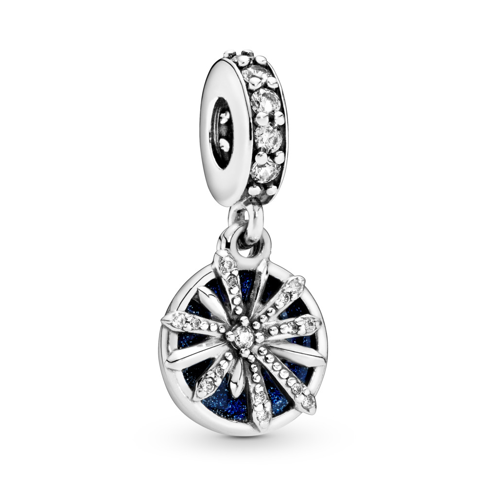 Dazzling Wishes Dangle Charm, Clear CZ & Blue Enamel, Sterling silver, Enamel, Blue, Cubic Zirconia - PANDORA - #797531CZ