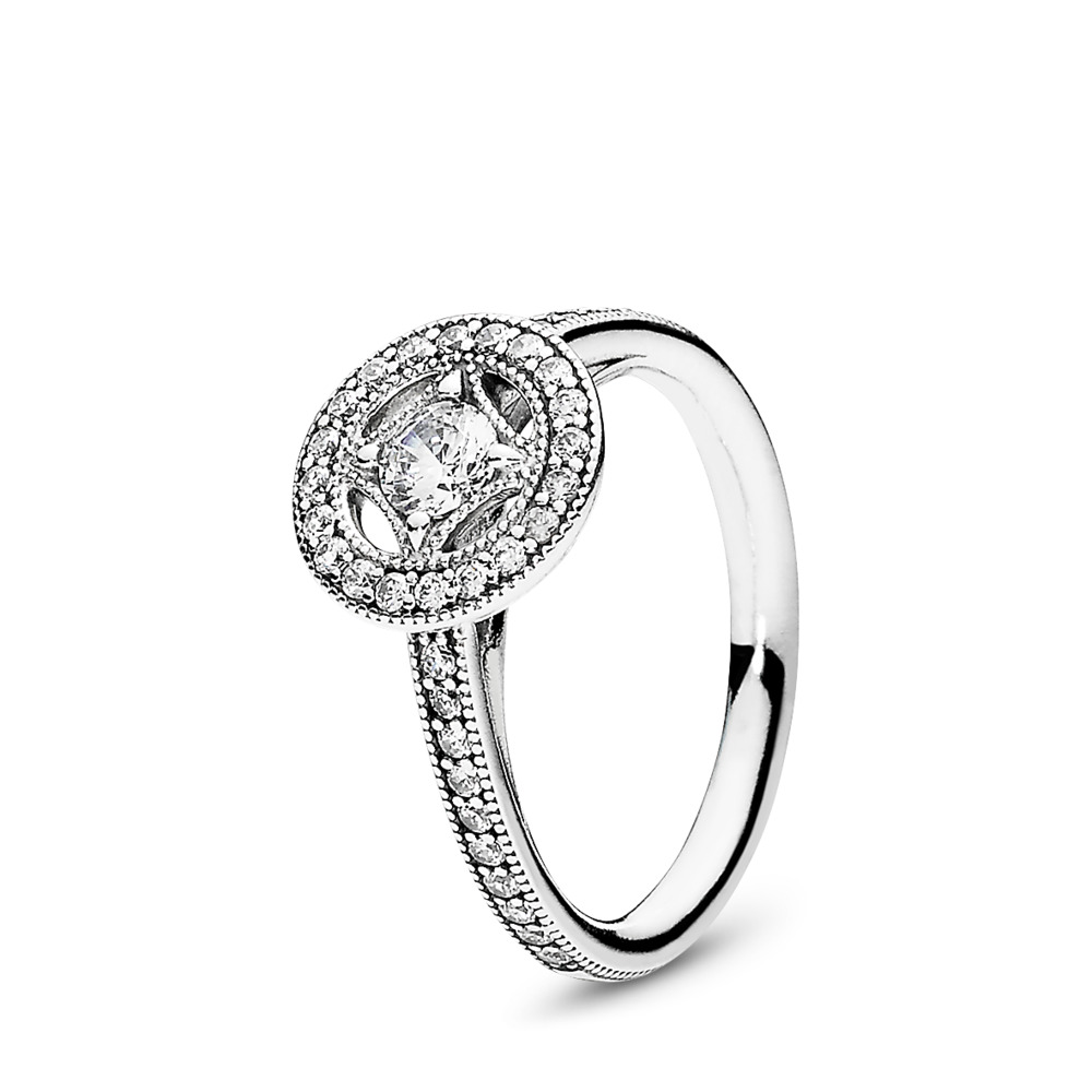 Vintage Allure Ring, Clear CZ, Sterling silver, Cubic Zirconia - PANDORA - #191006CZ