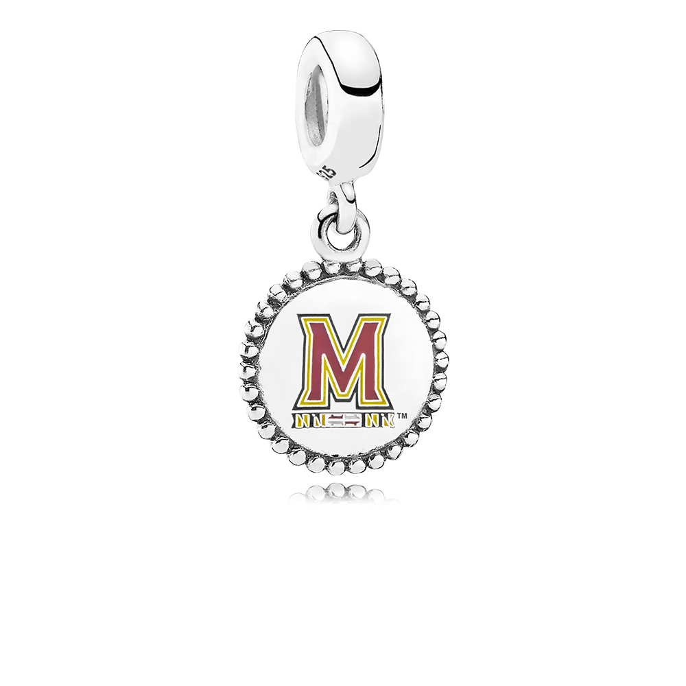 University of Maryland Dangle Charm, Mixed Enamel, Sterling Silver, Yellow - PANDORA - #ENG791169_69