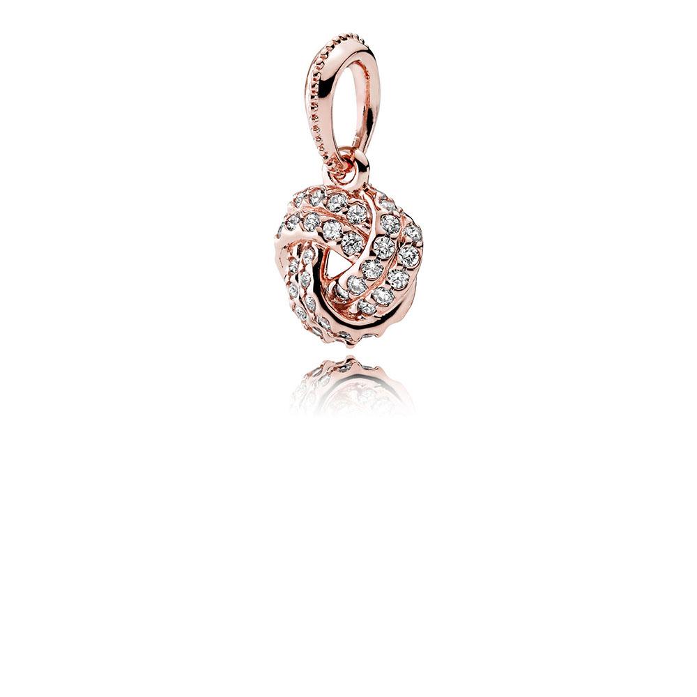 Sparkling Love Knot Pendant, PANDORA Rose™ & Clear CZ