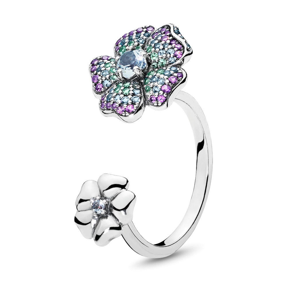 Glorious Blooms Ring, Multi-Colored CZ, Sterling silver, Blue, Crystal - PANDORA - #197086NRPMX