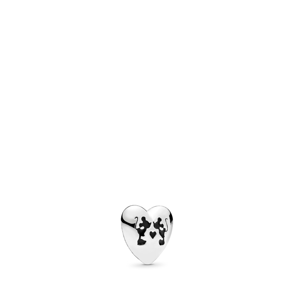 Disney, Mickey & Minnie Kiss Petite Locket Charm, Black Enamel, Sterling silver, Enamel, Black - PANDORA - #796347EN16