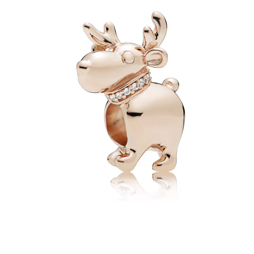 Happy Reindeer Charm, Clear CZ