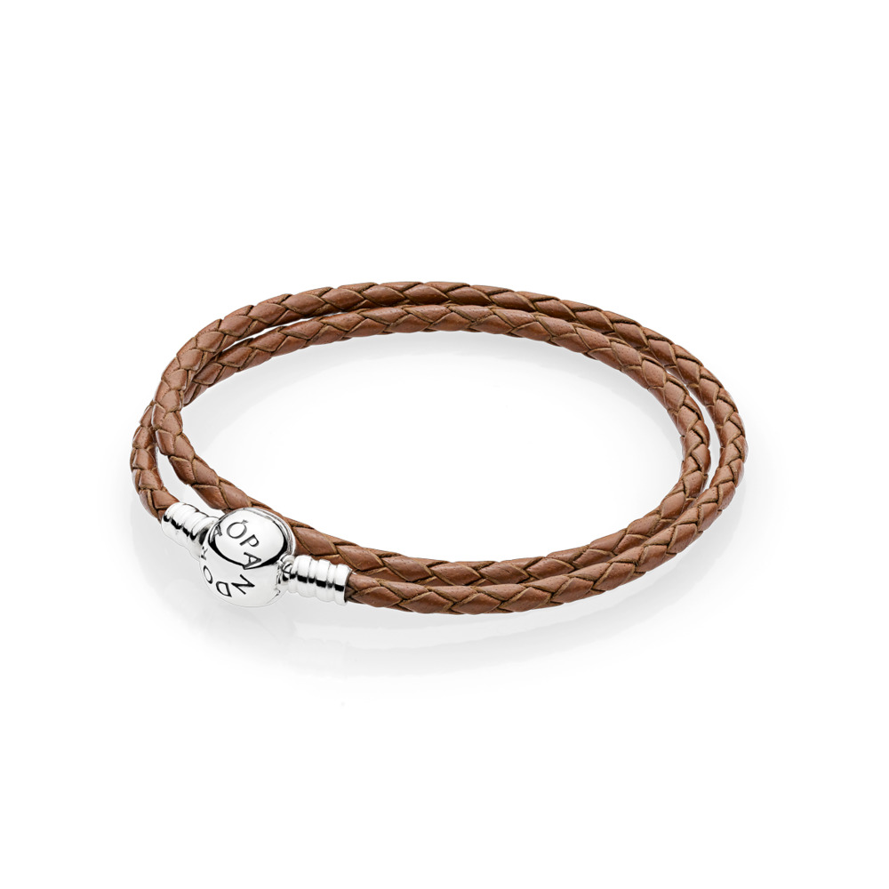 Brown Braided Double-Leather Charm Bracelet, Sterling silver, Leather, Brown - PANDORA - #590745CBN-D