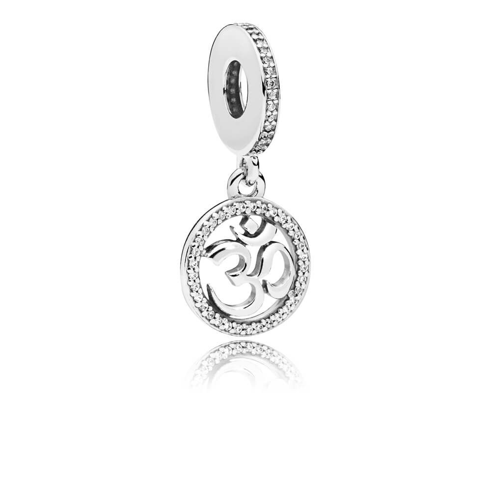 Om Symbol Dangle Charm, Clear CZ
