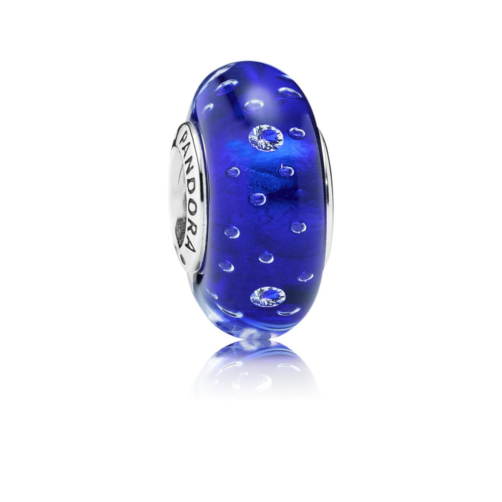 Dark Blue Effervescence Charm, Murano Glass & Clear CZ