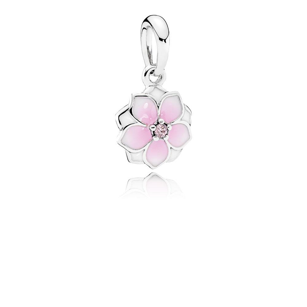 Magnolia Bloom Charm, Pale Cerise Enamel & Pink CZ